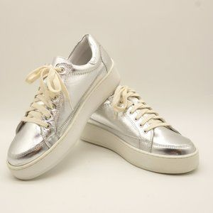 NEW FREE PEOPLE Letterman Sneakers Silver Leather